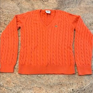 Lacoste V-Neck Cotton Cable Sweater Size 38 Orange